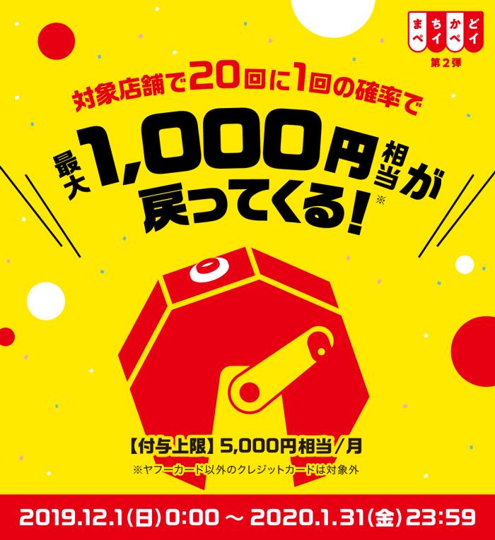 PayPay「まちかどペイペイ」キャンペーンが12月1日から開始!最大1000円が還元!